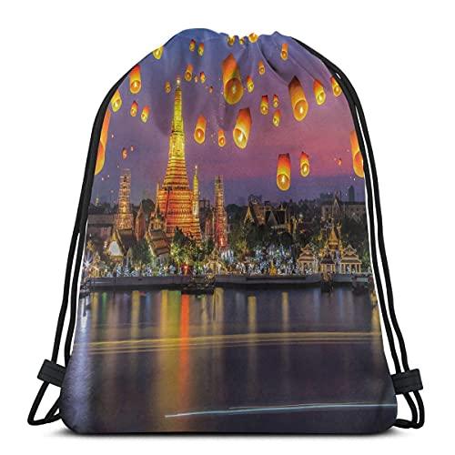 Wat Arun Building Tailandia Bangkok Coastline People Wishing Positive Asian Culture,Ajustable Cierre de Cuerda Impreso con Cordón Mochilas Bolsas