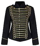 Ro Rox Ladies EMO Punk Goth Napoleon Military Drummer Parade Jacket - Black & Gold (UK 14)