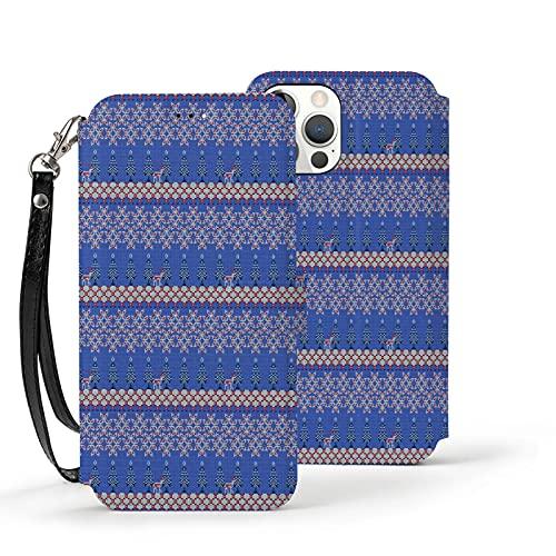 Funda para iPhone 12,Funda Tipo Cartera para iPhone 12 con Tarjetero,Patrón navideño con diseño de suéter,Funda Protectora Interior de TPU a Prueba de Golpes para iPhone 12 de 6.1 Pulgadas
