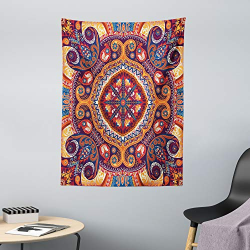 ABAKUHAUS Cachemir Tapiz de Pared y Cubrecama Suave, Alfombra De Flores Arabe, Lavable Colores Firmes, 110 x 150 cm, Multicolor