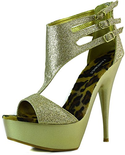 Fahrenheit Women's Vikki-01 Gold Glitter Color Evening Sandals Shoes, Gold, 8