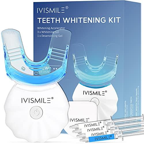 Kit De Blanqueamiento Dental, IVISMILE Blanqueador De Dientes No Sensible para la Limpieza de la Placa, Incluye 3*3ml Gel Blanqueador para un Blanqueamiento Dental Profesional para Iluminar Su Sonrisa