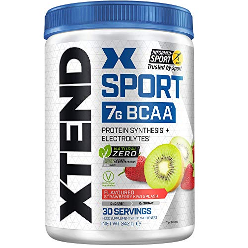 XTEND Sport Natural Zero | BCAA Powder Strawberry Kiwi | Free of Artificial Flavors and Colors | Branched Chain Amino Acids Drink with Electrolytes | 7 Grams BCAAs | 30 Servings
