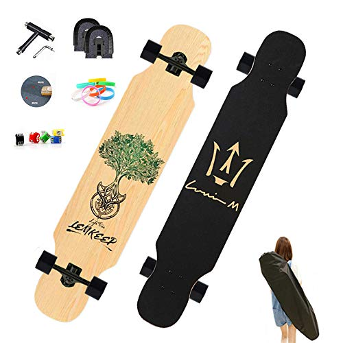 Longboard Skateboard 127×25cm Komplettboard, Drop Through Cruiser Longboard, High Speed ABEC Kugellagern, 8 Schichten Ahorn, Freeride Skaten Cruiser Boards, Jugendliche und Erwachsene, Geschenk,B