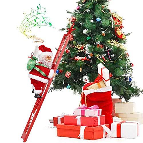 Innolites Climbing Ladder Santa, Christmas Electric Climbing Santa Claus Doll Christmas Decoration with Music, Hanging Xmas Ornament Toys for Christmas Tree Ornament