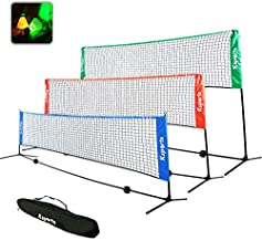 Ksports Tennis Net Bundle Comprising of−One Blue 17ft Net for Tennis, Badminton, Pickleball & Kids Volleyball−One Tube of 4 LED Shuttlecocks−One Carry Bag−Portable & Easy Setup for Indoors & Outdoors