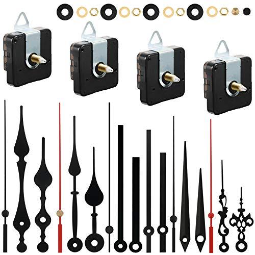 4 Mecanismos de Movimiento de Reloj de Pared de Cuarzo Juego de Motor de Reloj a Pilas con 6 Juegos de Agujas Herramientas de Mejora de Hogar (Negro, Rojo,18 mm)