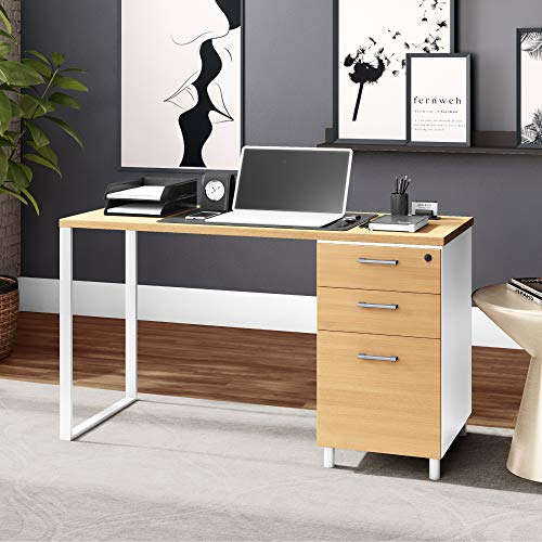 Milano 47 Inch Home & Office Computer Desk with 3 Detachable Locked Drawers - Red Oak/White
