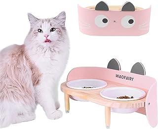 Bidason 猫 フード ボウル 食器 セラミック スタンド セット 餌皿 可愛い えさ入れ 水入れ 陶器 木製 食事台 こぼれにくい 分離式 安定 お手入れ簡単 滑り止め ペット用 犬 兼用