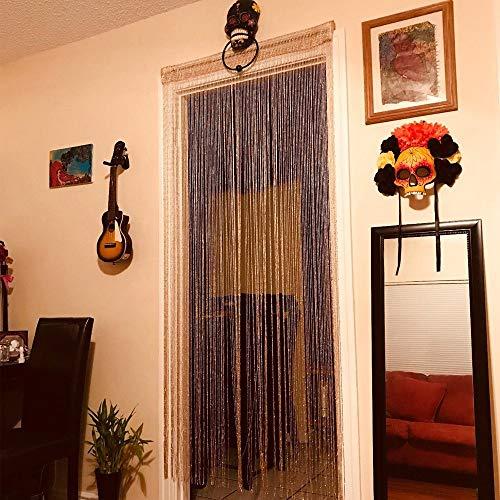 Nvfshreu Glitterdraad gordijn kwast deurgordijn roomdivider gordijn gordijn champagne parelgordijn eenvoudige stijl decoratief gordijn draadgordijn als feestelijke seizoensdecoratie 100 cm x 200 cm