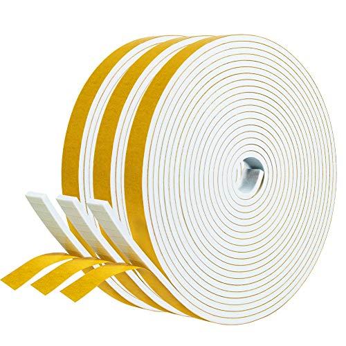 Dichtband selbstklebend 12mm(B) x3mm(D) Schaumstoff Klebeband Fenster-Türdichtung kochheld, Gummidichtung für Kollision Siegel Schalldämmung Gesamtlänge 15m (3 Rollen je 5m lang) Weiß