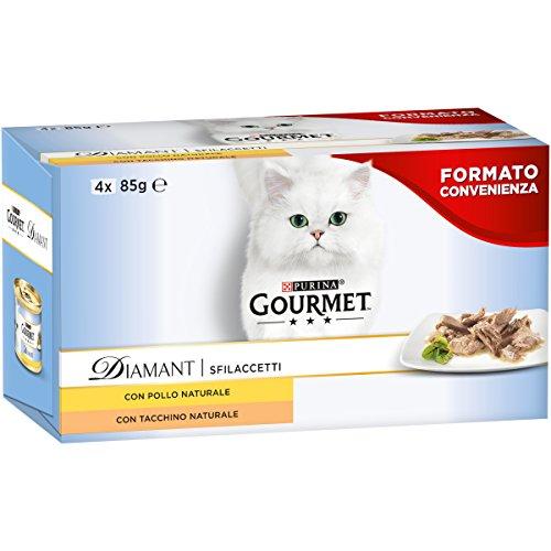 Purina Gourmet Diamant Umido Gatto Sfilaccetti con Pollo Delicato e Sfilaccetti con Tacchino Saporito - 96 Lattine da 85 g Ciascuna (24 Confezioni da 4 x 85 g)