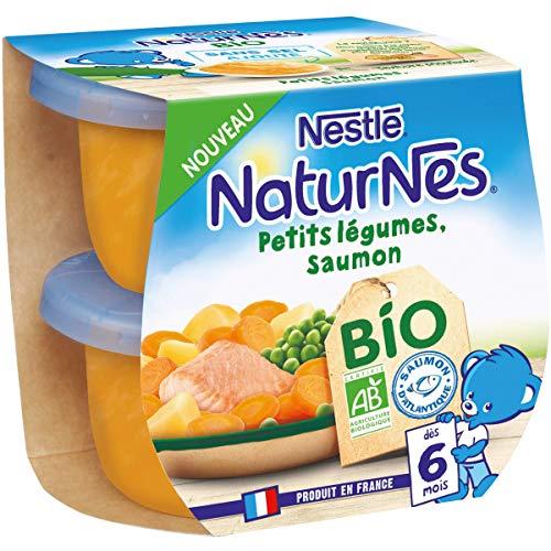 Nestlé Naturnes BIO - Petits pots bébé Petits Légumes, Saumon - Dès 6 mois - 2x190g