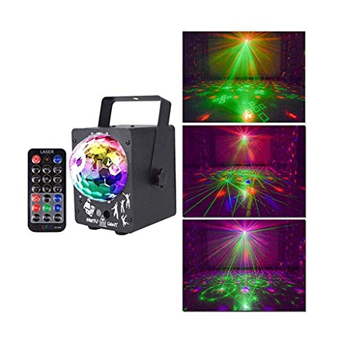 YHFX Disco Ball Licht -25W RGBW Beleuchtung Party Lichter Weihnachten Gartendekoration Rasendekoration Fernbedienung Sound Aktivierung Magic Ball Light-002 ( Color : Black , Size : 9.5*9.7*12cm )