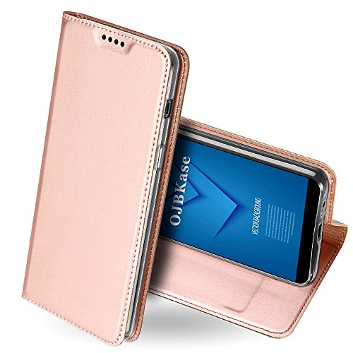 OJBKase Galaxy A6 2018 Hülle, Premium Slim PU Leder Handy Schutzhülle [Standfunktion] Hülle/Cover/Brieftasche/Ledertasche Tasche Lederhülle Handyhülle für Samsung Galaxy A6 2018 (Roségold)