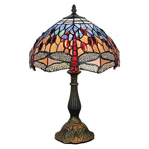 WTTWW Lampara de Mesa Salon, 12' Lámpara de Sobremesa Estilo Mediterráneo de Tiffany Vintage Art Libélula Home Vidrieras Lamparas de Mesita de Noche Base de Resina para Sala