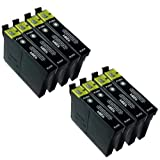 8 X T1281 BLACK Epson Compatible Ink Cartridges *** for Epson SX125 - ALSO COMPATIBLE WITH Epson Stylus Office BX305F, BX305FW, BX305FW Plus, Epson Stylus S22, SX125, SX130, SX235W, SX420W, SX425W, SX435W, SX445W Printers - Latest Version Double Capacity Inks - T1281 (Contains 8 X : T1281) Black - Multipack ***By TriINKS***