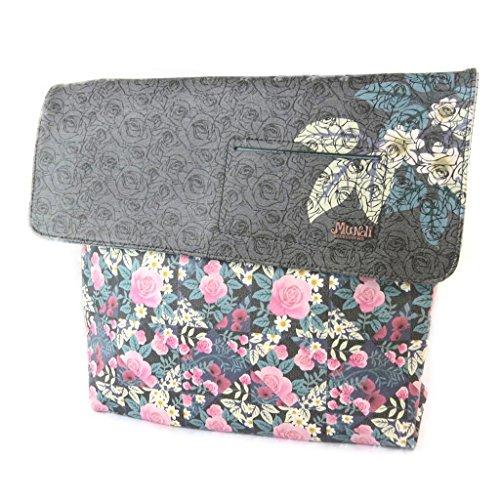 M&i [N9046] - Designer-tasche 'M&i' grau, blau, rosa (freiheit)- 31x28x8.5 cm.