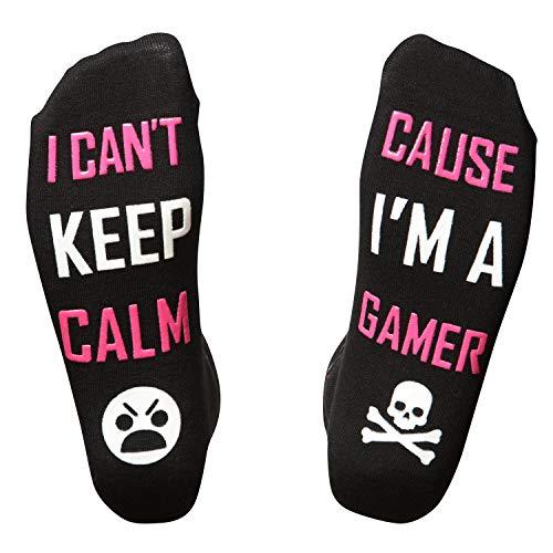 GAMER - Gaming Gifts I Novelty Socks I Random Stuff for Teens I Kids Gaming Socks I Gift Box Filler (Pink Keep Calm)