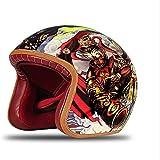 ZHXH Harley Casco moto, Uomini e donne adulti Evergreen Harley Retro Street Riding 3/4 Casco moto aperto Dot Dot approvato,