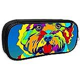 Estuche de lápices para oficina Bolso de lápices para perros Norwich Terrier multicolor para accesorios de papelería, bolsa de almacenamiento con cremallera lisa