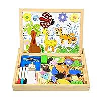Giocattolo Bello e Versatile - Una scatola in legno con un coperchio reversibile. Il coperchio è da un lato di colore bianco per disegnare, scrivere e prendere appunti con i pennarelli ad acqua inclusi e un lato di colore nero per disegnare con i ges...