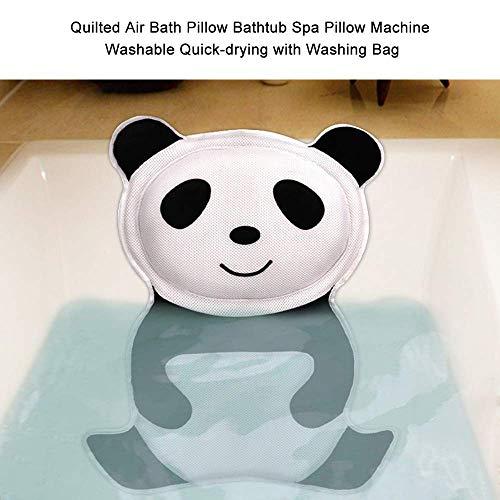 LONG-D Panda Oreiller de Bain Doux Cou Coussin Baignoire Oreiller avec Dossier Ventouse Spa Appui-Tête Créatif Salle de Bains Accessoires
