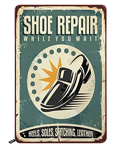 Plaque en métal vintage pour réparation de chaussures, talons et semelles - Pour homme et femme - Décoration murale - 20,3 x 30,5 cm