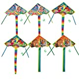 Kite - 6-Pack Kite Flyer with Colorful Tail and Single Line, Fly Toys for Kids, Beginners, Adult, Family Outdoor Games, Activities, Gift, Mermaid Lion Park Pattern, 3 Assorted Desigs, 36 x 19.5 Inches