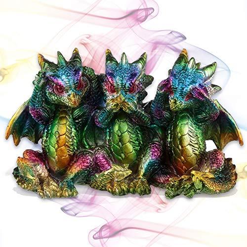 mtb more energy Deko Regenbogen Drachen Figuren ''Nichts Hören, Nichts sehen, Nichts Sagen'' - Set aus 3 Babydrachen - 8x13x5cm - Dekoration Wohnen Kinderzimmer Geschenk