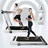 Murtisol Folding 2-in-1 Treadmill Walking Running Cardio Training Fitness Machine for Home & Indoor Use, 265lbs Weight Capacity, W/Remote Control, Light Gray and White…