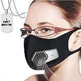 JJIIEE Purificadores de Aire Reutilizables, Protector Facial Personal Antipolvo eléctrico portátil, Recargable por USB, protección de filtración del 97.85%, 5 Elementos de Filtro, un Collar Gratis