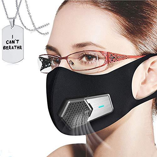 JJIIEE Purificadores de Aire Reutilizables, Protector Facial Personal Antipolvo eléctrico portátil, Recargable...