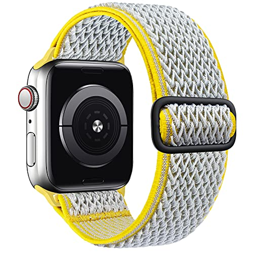 SAMYERLEN Stretchy Solo Loop Bands Compatible with Apple Watch Band 38mm 40mm 42mm 44mm for Men Women Adjustable Weave Elastic Braided Nylon Wristband for iWatch Series 6 5 4 3 2 1 SE (Gray/Yellow-38/40)