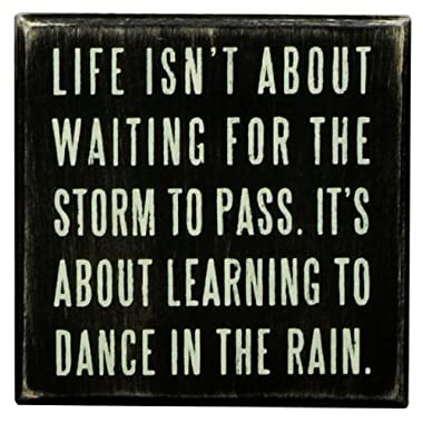 Primitives by Kathy 16336 Classic Box Sign, 4  x 4  x 1.75 , Dance in the Rain