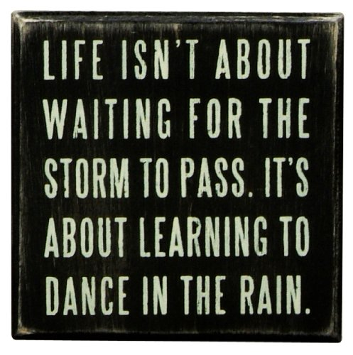 Primitives by Kathy 16336  Classic Box Sign, 4 x 4-Inches, Dance In The Rain