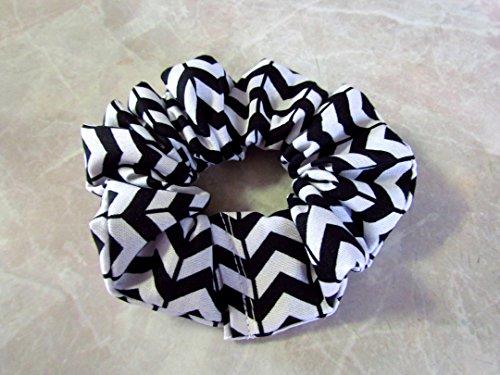 Black & White Chevron Hair Scrunchie 100% Cotton