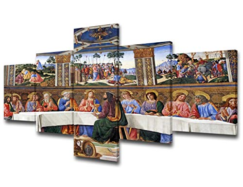 Christian Pictures for Wall The Last Supper in Sistine Chapel Paintings Vatican City Wall Art Jesus Christ Artwork 5 Piece Canvas Modern Home Decor Framed Gallery-wrapped Ready to Hang(50''Wx24''H)