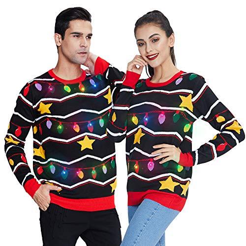 Freshhoodies Unisex Estrella con Luces Suéter de Navidad con lámpara LED Sudadera de Punto Divertida para Navidad Jerséis L