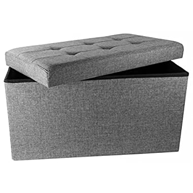 Upholstered Folding Storage Ottoman with Padded Seat, 30  x 16  x 16  - Charcoal Grey