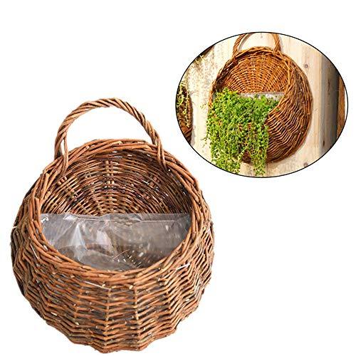 KEISL Cesta de mimbre para colgar en la pared, hecha a mano, cesta de almacenamiento natural para el hogar, jardín, boda, decoración de pared, 12.2 x 15 pulgadas (1 unidad)