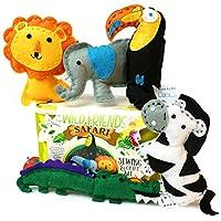 Wild Friends Safari Sew and Craft Kit - Zebra, Toucan, Alligator, Elephant, Lion
