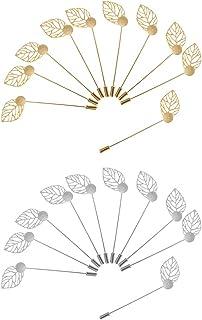 LoveinDIY 10pcs Brass Leaf Clutch Stick Pin 1cm Base Glue On Pad Brooch Collar Pins
