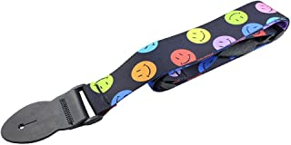 LeatherGraft Black Colourful Smiley Face Print Nylon Electric Acoustic Bass Guitar Strap