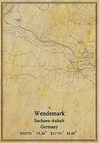 Leinwanddruck, Motiv: Deutschland-Flagge von Wendemark Sachsen-Anhalt, Vintage-Stil, ungerahmt, Dekoration, Geschenk, 45,7 x 61 cm