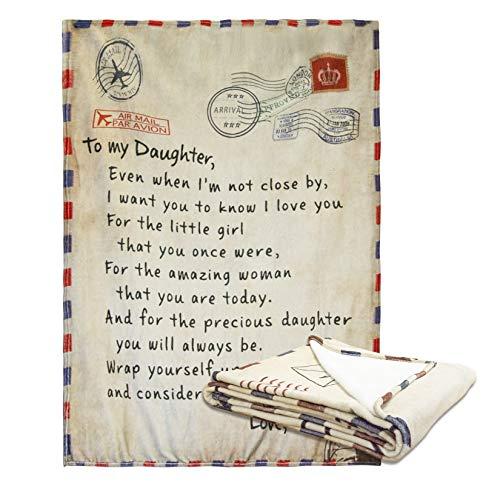 AHWZ Brief Decke -Um Mein Sohn Und Tochter-Fleece Blanket 3D Weiche Cozy Leichte Durable Plüsch Decke Für Schlafzimmer Wohnzimmer, Geschenk,to My Daughter from mom,XXL