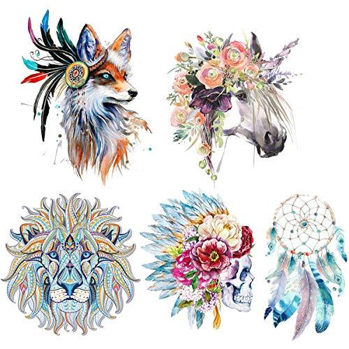 (5 hojas) Unicornio Transferencia térmica de hierro en parches, MWOOT Flor cráneo patrón Dream Catcher Wolf Lion parches calcomanías de transferencia de calor para mujeres, hombres, camiseta, jeans