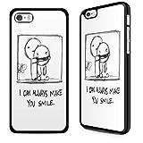 Gadget Zoo - Carcasa para iPhone 4, 4S, 5, 5S, 6, 6S Plus, con texto en inglés, color negro, plástico, I can always make you smile, iPhone 6 6s