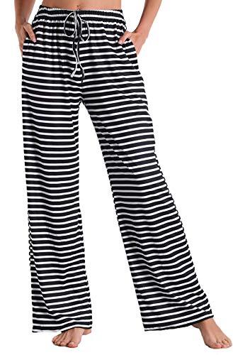 X-Image Pajama Pants for Women Sleep Pants Lounge Pants Women Sleep Bottoms Pockets Black Stripe, Medium