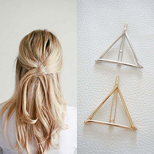 Pince à cheveux minimaliste géométrique triangulaire, délicate et creuse en métal pour queue de cheval (doré et argenté)